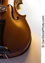 (6), uppe, instruments:, nära, violin, musikalisk