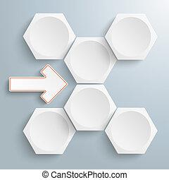 6 White Hexagons Arrow Flowchart