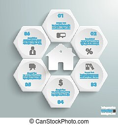 6 White Hexagons Cylce House