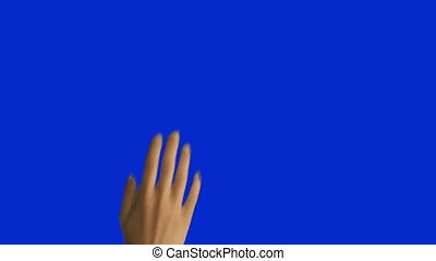 6 Woman Hand Gestures on Blue Screen