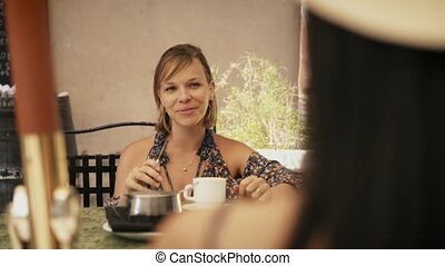 6-Women Friends At Cafeteria Smoking Electronic Cigarette