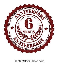 6 years anniversary stamp