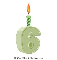 6 years birthday. Number with festive candle for holiday cake. six Anniversary