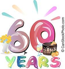 fira 60 år 60, år, jubileum kort, firande. 60, färgrik, text, årsdag, år  fira 60 år