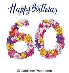 60, ディジット, 作られた, の, 別, 花, 隔離された, 白, バックグラウンド。, 誕生日おめでとう, inscription., ベクトル, イラスト