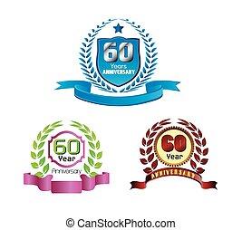 60, 金, 花輪, 記念日, 月桂樹