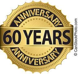 60, anni, anniversario, dorato, etichetta