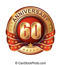 60 Anniversary golden label with ribbon. Vector...