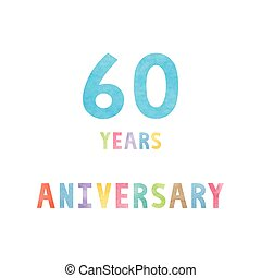 60, anos, cartão aniversário, celebração