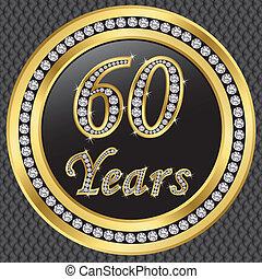 60, birthda, rocznica, lata, szczęśliwy