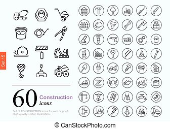 60 construction icons - Set of construction icons for web or...