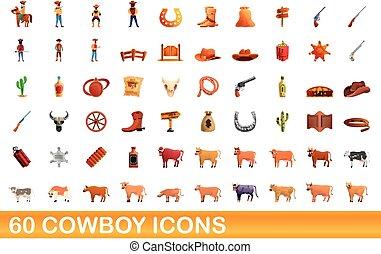 60 cowboy icons set, cartoon style
