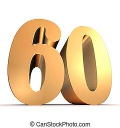 60, dorado, -, número