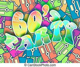 60, feestje, retro, concept., ouderwetse , poster