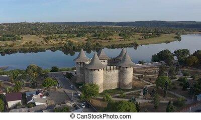 60 fps aerial orbiting around medieval fort in Soroca, ...