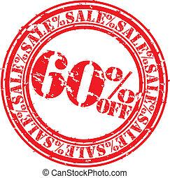 60, grunge, percento, vendita, gomma, s, spento