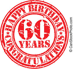 60, grunge, urodziny, tłoczyć, ilustracja, lata, ścierka, ...