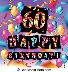 60 Happy Birthday background or card with colorful...