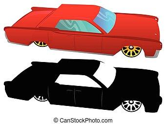 60, illustré, vecteur, voiture., luxe, dessin animé