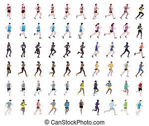 60, illustrationen, rennender , leute