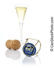 60, inscripción, gorra, champaña, años