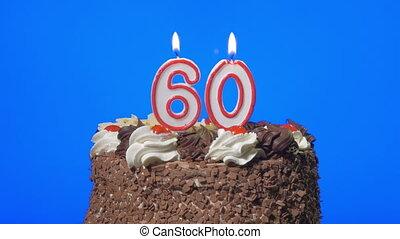 60, kaarsjes, blazen, getal, taart