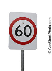 60 km speed sign isolated on white