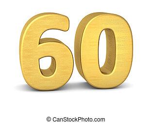 60, nombre, or, 3d