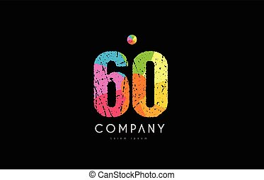 60 number grunge color rainbow numeral digit logo