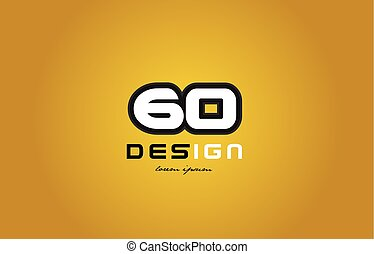 60 number numeral digit white on yellow background