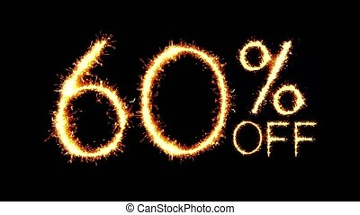 60% Off Text Sparkler Glitter Sparks Firework Loop Animation...