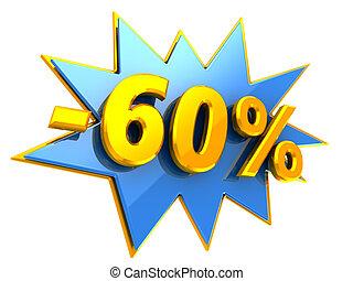 60 percent discount - 3d illustration of 60 percent disount...