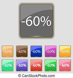 60 percent discount sign icon. Sale symbol. Special offer label. Set of colored buttons Vector
