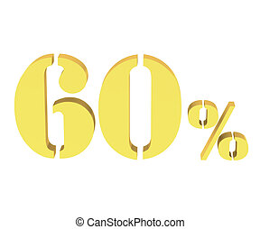 60 percent discount symbol yellow color isolated white background