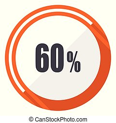 60 percent flat design vector web icon. Round orange internet button isolated on white background.