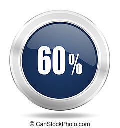 60 percent icon, dark blue round metallic internet button, web and mobile app illustration