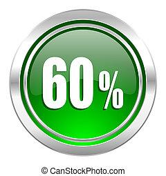 60 percent icon, green button, sale sign