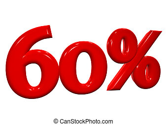 60 percent in red letters on a white background