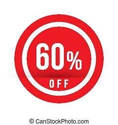 60 percent off - red sale stamp - special offer sign. Vector illustration