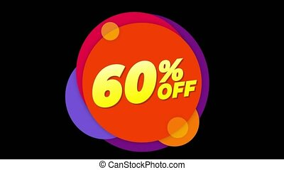 60% Percent Off Text Flat Sticker Colorful Popup Animation....