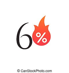 60 percent off with the flame, burning sticker, label or icon. Hot Sale flame and percent sign label, sticker. special offer, big sale, discount percent off. Vector illustration isolated on white background
