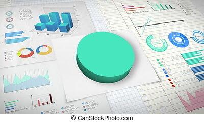 60 percent Pie chart with various economic finances graph version 2.(no text)