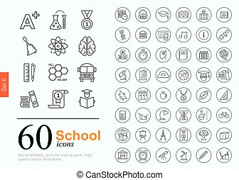 60 school icons - Set of school icons for website or print....