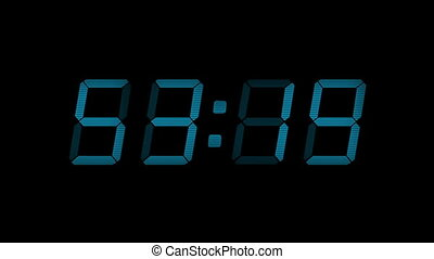 60 Second Blue Digital Countdown Display