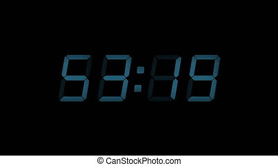 60 Second Digital Countdown Display Blue 4K