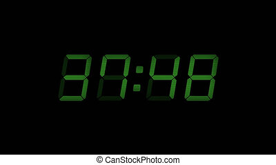 60 Second Digital Countdown Display Green 4K