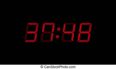 60 Second Digital Countdown Display Red 4K