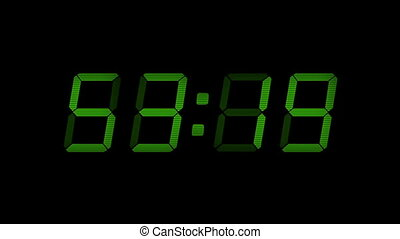 60 Second Green Digital Countdown Display