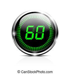 60, segundos, electrónico, avisador