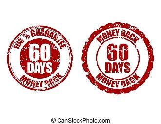 60, selo, dinheiro, dias, costas, borracha, vermelho,...